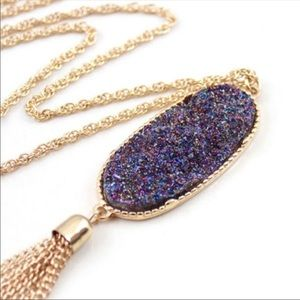 NWT Iridescent Druzy Quartz Tassel Necklace
